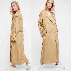 NWT Free People All Tied Up Trench Coat Khaki SM